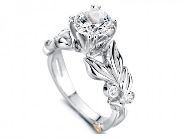 Flora by Mark Schneider - Flora by Mark Schneider - The Flora engagement ring contains 5 diamonds, totaling 0.065 ctw. Center stone sold separately, not included in price.