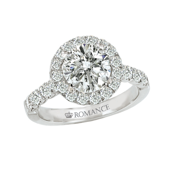 Romance Round Halo Semi-Mount Engagement Ring - Ladies Diamond Semi-Mount Engagement Ring with .80 ctw round brilliant diamonds set in 18kt WG mounting.  Center setting is for a 7 - 7.5mm Round Brilliant Diamond.  *Center Stone Sold Separately*