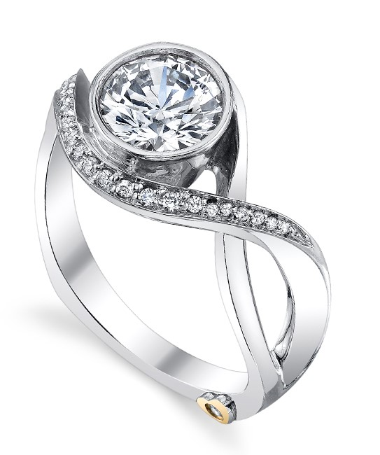 Aurora by Mark Schneider - Aurora by Mark Schneider Designs - The Aurora engagement ring contains 24 diamonds, totaling 0.1025 ctw. Center stone sold separately.