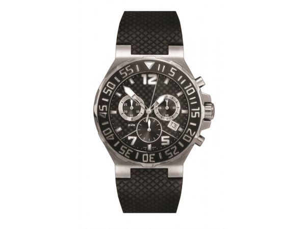 Watch - Men's Mead Jewelers Watch - Water resistant up to 20 ATM, Swiss Chronograph, Stainless steel case, Screw down crown, Click-bezel, Luminous dial and hands, Carbon fiber dial, Rubber strap, Genuine sapphire crystal, Diver security lock buckle.