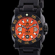 Reactor Watch - Gryphon - Gryphon by Reactor - Orange Dial with Black Rubber Strap.  Waterproof up to 200 meters.