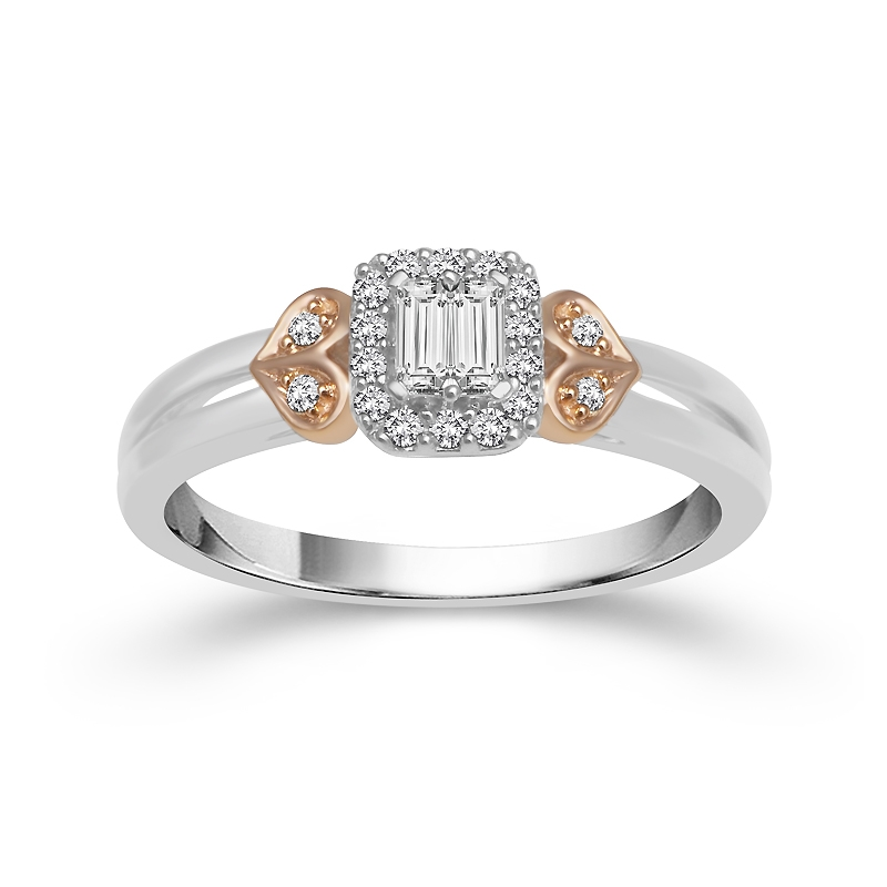 Engagement Rings - 10 Karat Two-Tone Gold Engagement Ring With 0.20Tw Round Diamonds