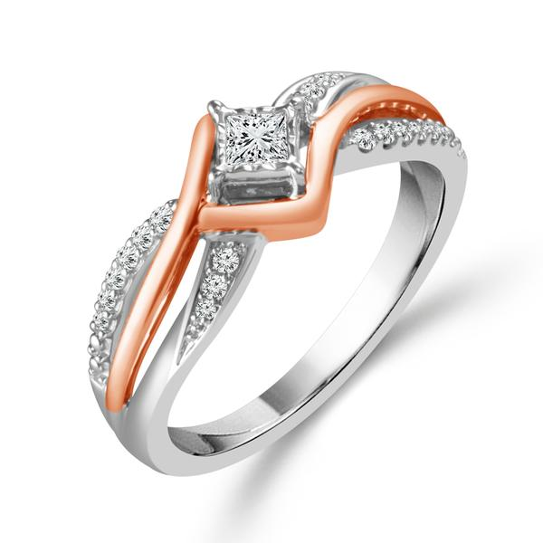 Engagement Rings - 10 Karat Two-Tone Gold Engagement Ring With 0.20Tw Round And Princess Cut Diamonds