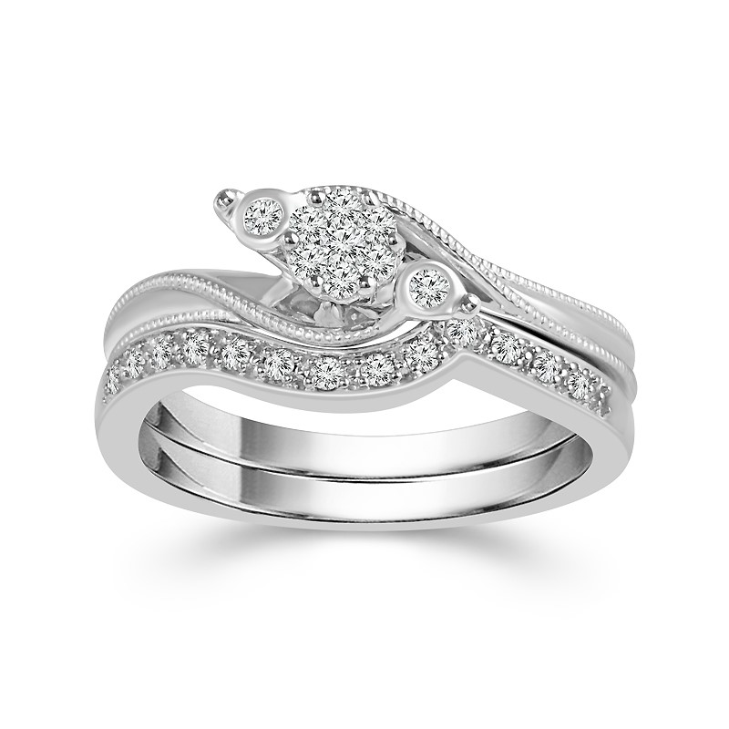 Diamond Wedding Set - 10 Karat White Gold Bridal Set With 0.20Tw Round Diamonds