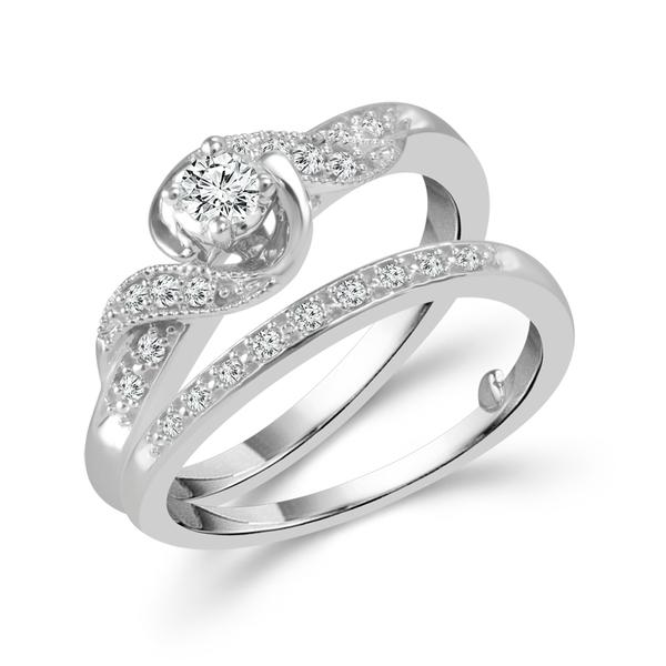 Diamond Wedding Set - 10 Karat White Gold Bridal Set With 0.25Tw Round Diamonds