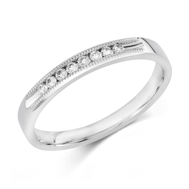 Wedding Band - 14 Karat White Gold Channel Set Anniversary Ring With 8=0.12Tw Round G/H SI Diamonds