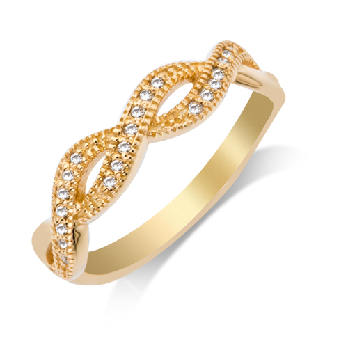 Wedding Band - 14 Karat Yellow Gold Shared Prong Anniversary Ring With 0.11Tw Round G/H SI Diamonds
