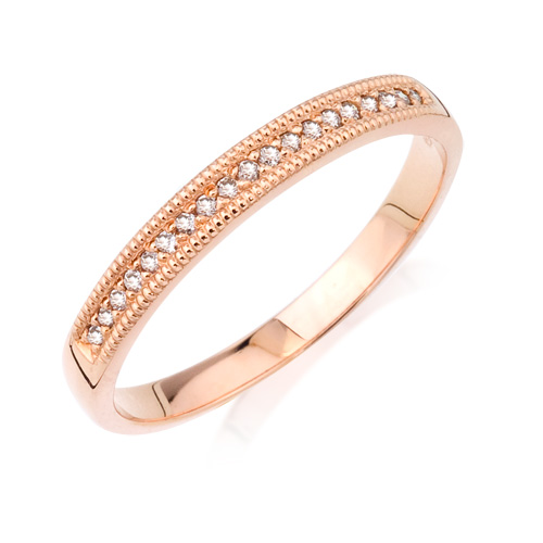 Wedding Band - 14 Karat Rose Gold Anniversary Ring With 0.10Tw Round G/H SI Diamonds