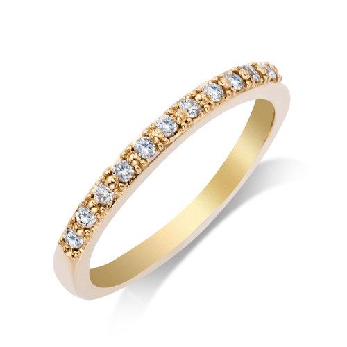 Wedding Band - 14 Karat Yellow Gold Shared Prong Anniversary Ring With 0.17Tw Round G/H SI Diamonds