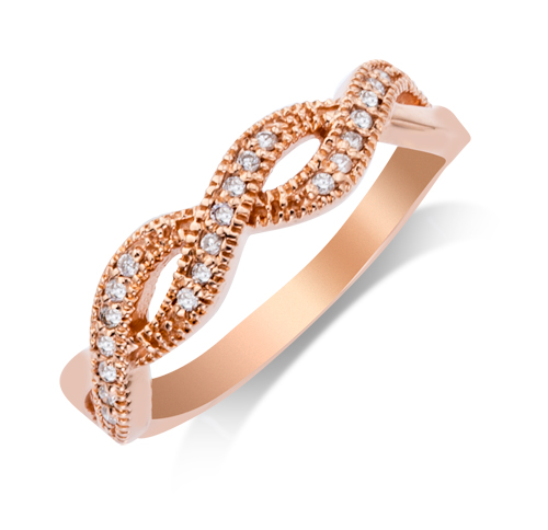 Wedding Band - 14 Karat Rosé Gold Shared Prong Anniversary Ring With 0.11Tw Round G/H SI Diamonds