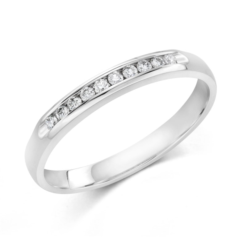 Wedding Band - 14 Karat White Gold Channel Set Anniversary Ring With 10=0.10Tw Round G/H SI1 Diamonds