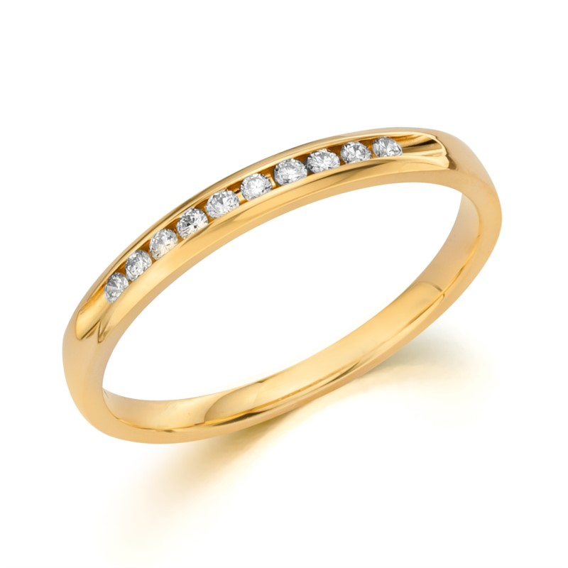 Wedding Band - 14 Karat Yellow Gold Channel Set Anniversary Ring With 10=0.10Tw Round G/H SI1 Diamonds
