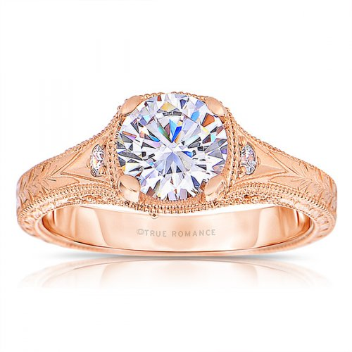 Engagement Rings - 14 Karat Rosé Gold Semi Mount Ring With 0.06Tw Round H/I SI2 Diamonds And One 0.75Ct Round Cubic Zirconium