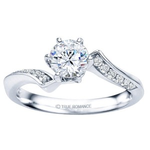 Engagement Rings - 14 Karat White Gold Semi Mount Ring With 0.15Tw Round H/I SI2 Side Diamonds And One Round Cubic Zirconium