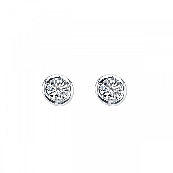 Diamond Stud Earrings - 14 Karat White Gold Sirena Earrings With 2= 0.20cttw Round Diamonds