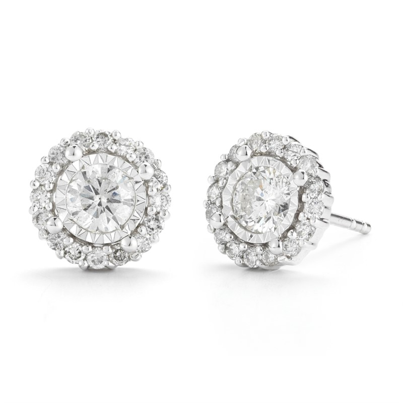 Diamond Earrings - 14 Karat White Gold Miracle Mark Halo Earrings With 0.54Tw Round G/H I1 Diamonds
