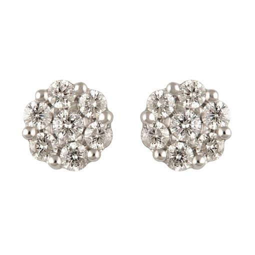 Diamond Earrings - 14 Karat White Gold Cluster Earrings With 14=0.23Tw Round Diamonds