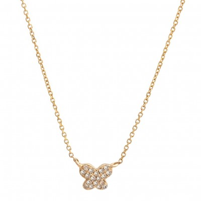 Diamond Pendant - 14 Karat Yellow Gold Pendant With 0.05Tw Round Diamonds