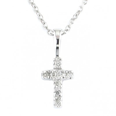 Diamond Pendant - 14 Karat White Gold Pendant With 0.02Tw Round Diamonds