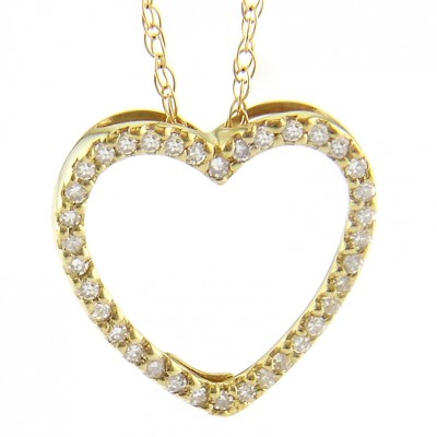 Diamond Pendant - 14 Karat Yellow Gold Heart Pendant With 0.15Tw Round Diamonds