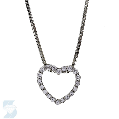 Diamond Pendant - 14 Karat White Gold Heart Pendant With 20=0.12Tw Round J I2 Diamonds
