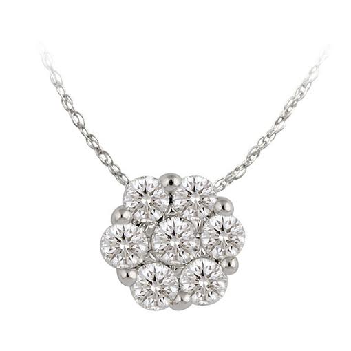 Diamond Pendant - 14 Karat White Gold Bouquet Pendant With 7=0.14cttw Round I I1 Diamonds