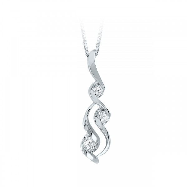 Diamond Pendant - 14 Karat White Gold Drop Pendant With 3=0.10Ct Round Diamonds