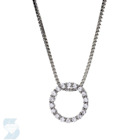 Diamond Pendant - 14 Karat White Gold Circle Pendant With 20=0.11Tw Round J I2 Diamonds