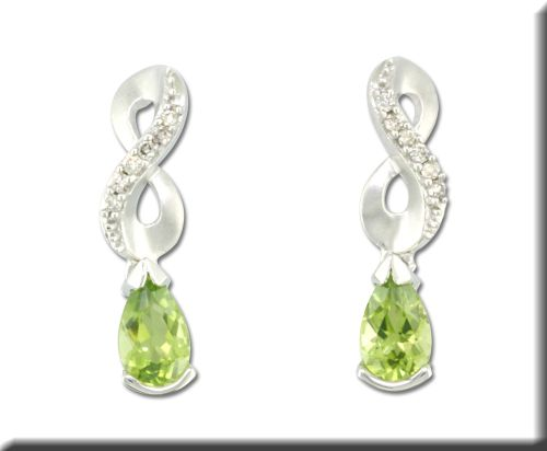 Earrings - 14 Karat Whiote Gold Dangle Earrings With 2=0.88Tw Pear Peridots And 12=0.10Tw Round J/K SI3 Diamonds
