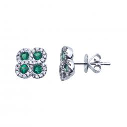Earrings - 14 Karat White Gold Button Earrings With 8=0.60Tw Round Emeralds And 0.26Tw Round Diamonds