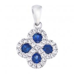 Colored Stone Pendant - 14 Karat White Gold Drop Colored Stone Pendant With 4=0.30Tw Round Sapphires And 0.13Tw Round H SI Diamonds