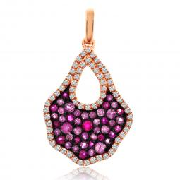 Colored Stone Pendant - 14 Karat Rosé Gold Drop Colored Stone Pendant With 0.54Tw Round Pink Sapphires And 0.25Tw Round H SI Diamonds