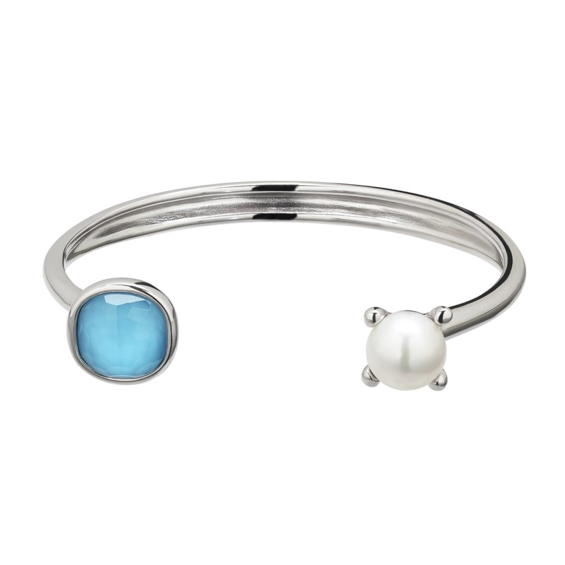 Pearl Bracelet - Sterling Silver Cuff Bracelet With One Crystal Turquoise Doublet And One Fresh Water Pearl
