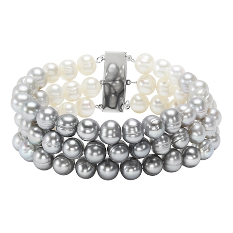 Pearl Bracelet - Sterling Silver 3 Row Bracelet Length 7.5 With Grey And White Ombre Fresh Water Pearls And Potato Pearls