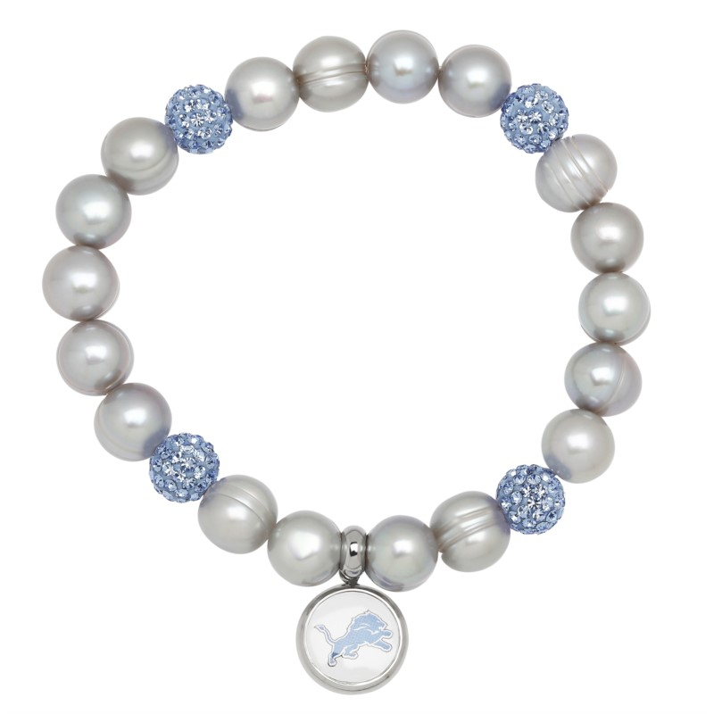 Pearl Bracelet - Stretch Bracelet With Grey Potato Pearls, Blue Crystal Beads, And Stainless Steel Lions Logo Charm