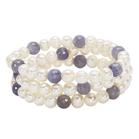 Pearl Bracelet - Stretch Bracelet Set of 3 With Fresh Water Pearls And Iolite Beads