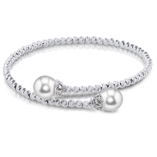Pearl Bracelet - Sterling Silver Beaded Bangle Bracelet With 2= Fresh Water Pearls