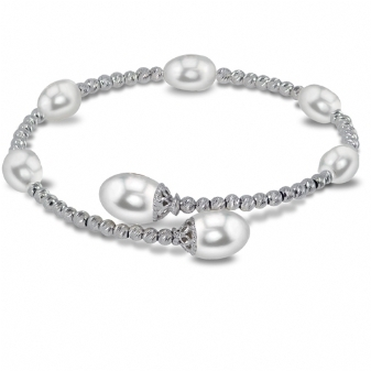 Pearl Bracelet - Sterling Silver Beaded Cuff Bracelet Length 7.5 With Fresh Water Pearls