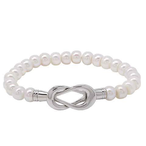 Pearl Bracelet - Sterling Silver Infinity Bracelet With 19= Fresh Water Pearls
