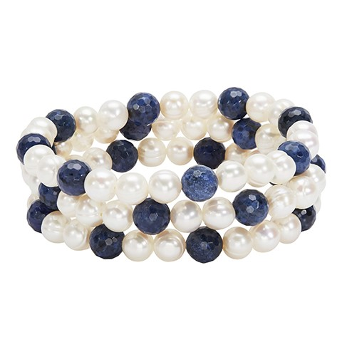 Pearl Bracelet - Stretch Bracelet Set of 3 With Fresh Water Pearls And Lapis Beads