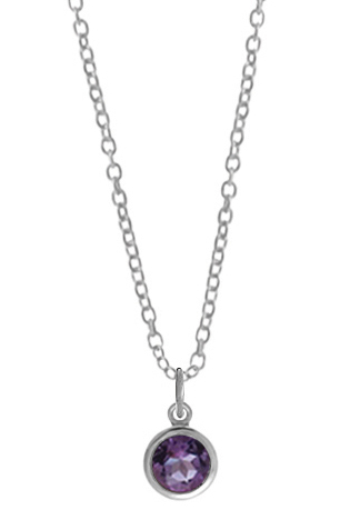 Silver Pendant - Sterling Silver Drop Pendant With One Round Amethyst
