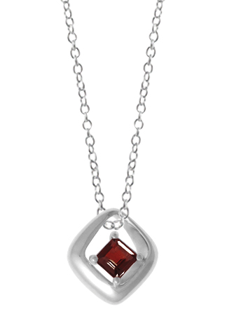 Silver Pendant - Sterling Silver Drop Pendant With One Princess Garnet