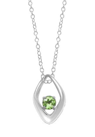 Silver Pendant - Sterling Silver Drop Pendant With One Round Peridot
