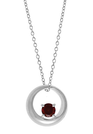 Silver Pendant - Sterling Silver Drop Pendant With One Round Garnet