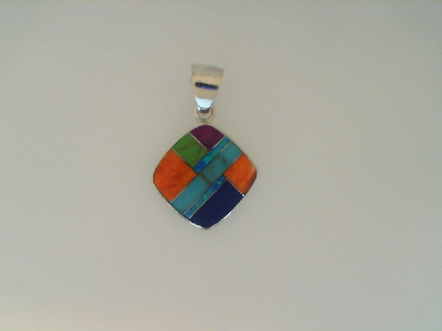 Silver Pendant - Sterling Silver Drop Pendant With Opal And Multi-Stone Inlay