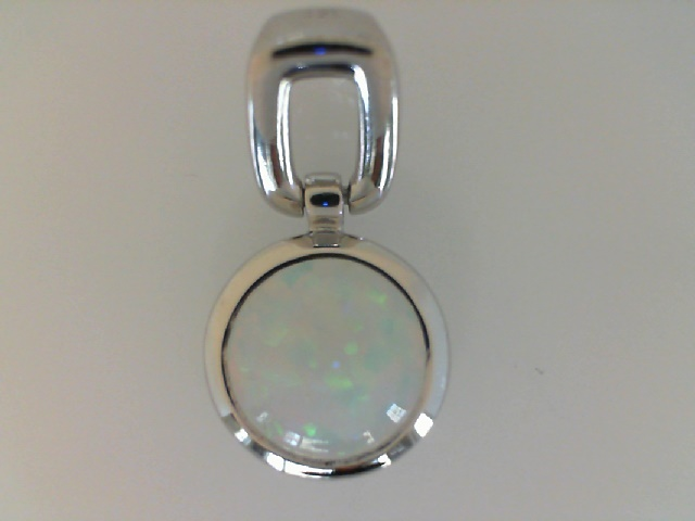 Silver Pendant - Sterling Silver Drop Pendant With One Round Created Opal