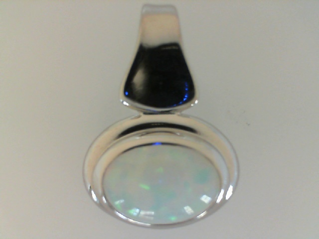 Silver Pendant - Sterling Silver Drop Pendant With One Oval Created Opal