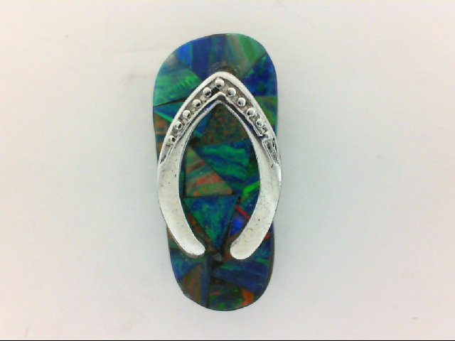 Silver Pendant - Sterling Silver Flip Flop Pendant With Created Opal