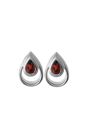 Silver Earrings - Sterling Silver Button Earrings With 2= Pear Garnets