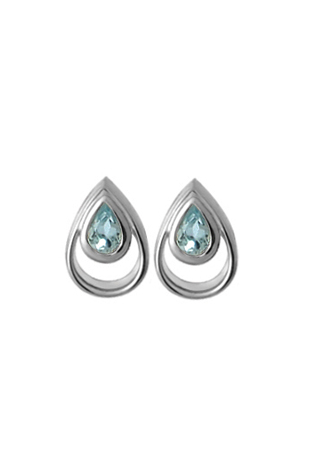 Silver Earrings - Sterling Silver Button Earrings With 2= Pear Blue Topazs